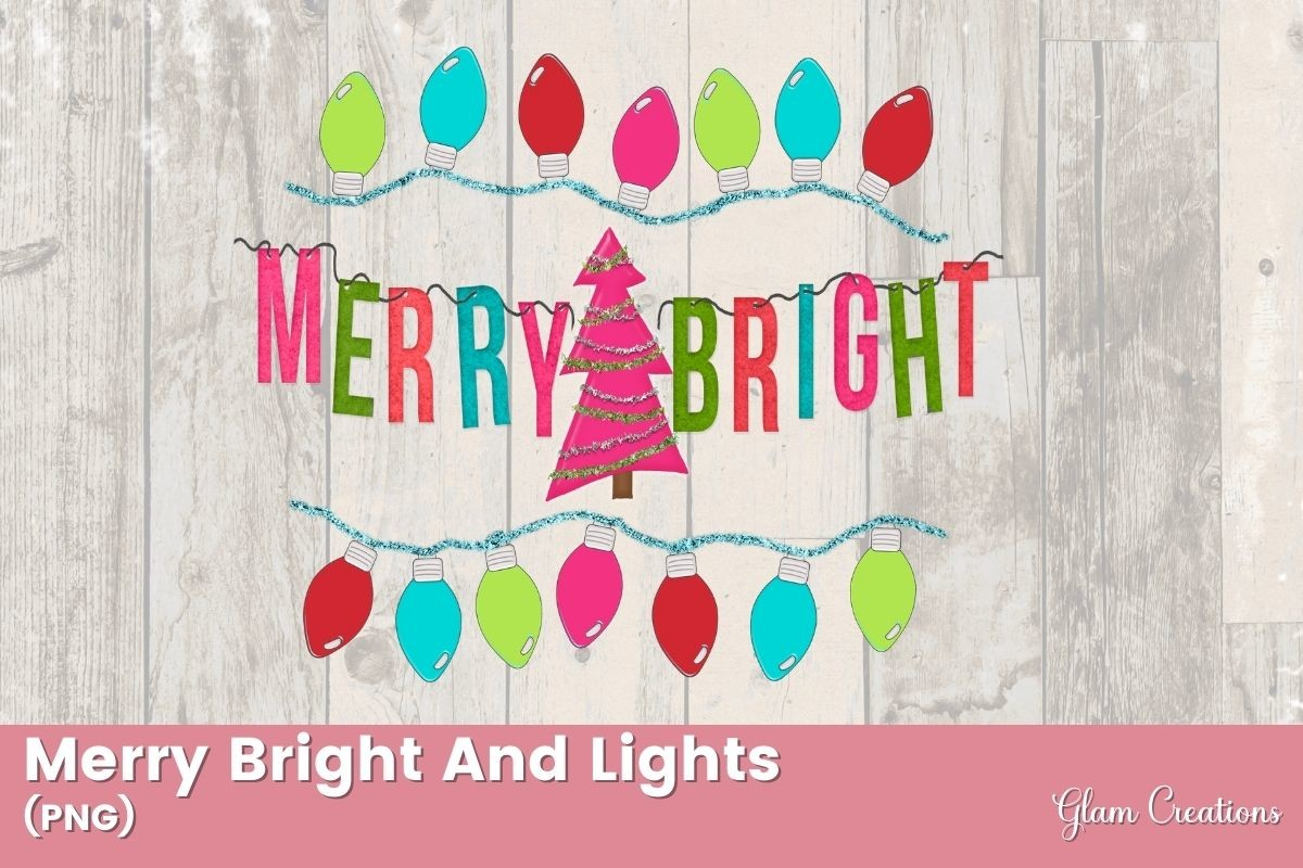 Merry and Bright Christmas Lights SVG File