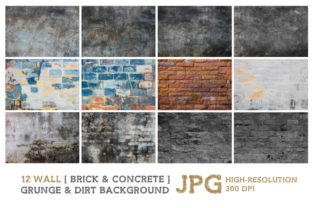 Print on Demand: Old Brick and Concrete Background Graphic Backgrounds By nesdigiart