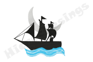 Print on Demand: Ship and Moon Ocean Pirates Embroidery Design By HicretDesings