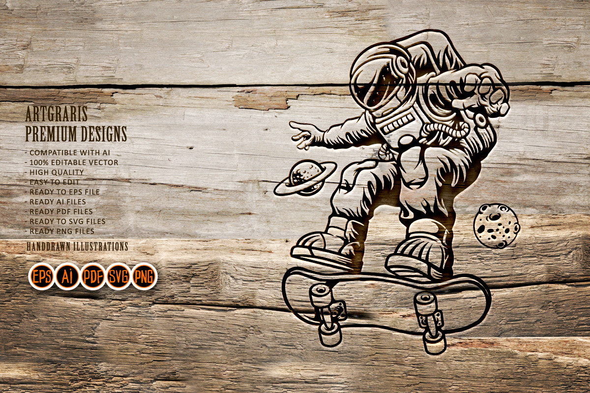 Spaceman Playing Skateboard Silhouette SVG File