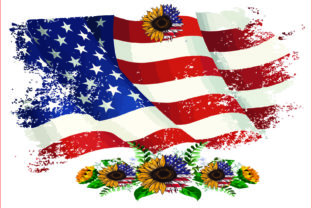 USA Flag PNG, USA Sunflowers,sublimation Graphic Illustrations By AlaBala