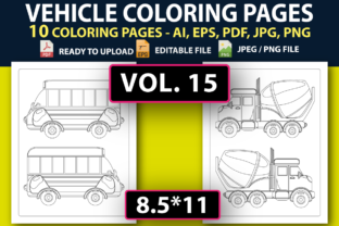 VEHICLE COLORING PAGES for KIDS V.15 Graphic Coloring Pages & Books Kids By triggeredit