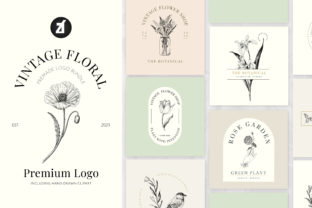 Vintage Floral Premade Logo Template Graphic Logos By Chanut is watercolor