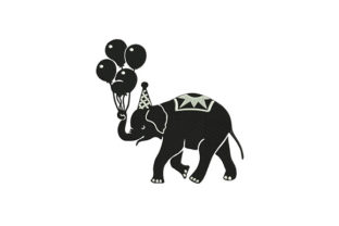 Birthday Elephant Circus & Clowns Embroidery Design By DigitEMB
