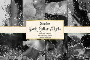 Print on Demand: Black Glitter Agate Textures Graphic Textures By Digital Curio