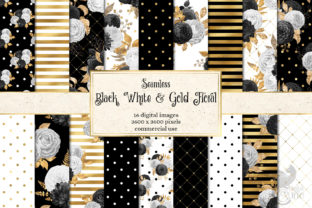 Print on Demand: Black White & Gold Floral Digital Paper Graphic Patterns By Digital Curio 1