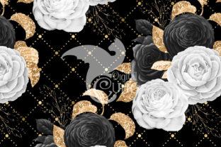 Print on Demand: Black White & Gold Floral Digital Paper Graphic Patterns By Digital Curio 2