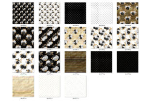Print on Demand: Black White & Gold Floral Digital Paper Graphic Patterns By Digital Curio 3