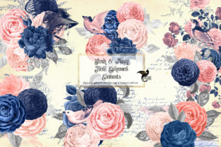 Print on Demand: Blush and Navy Floral Ephemera Elements Graphic Illustrations By Digital Curio 1