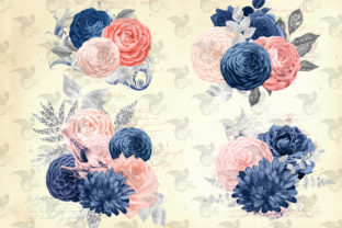 Print on Demand: Blush and Navy Floral Ephemera Elements Graphic Illustrations By Digital Curio 2
