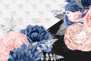 Print on Demand: Blush and Navy Floral Ephemera Elements Graphic Illustrations By Digital Curio 3