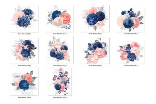 Print on Demand: Blush and Navy Floral Ephemera Elements Graphic Illustrations By Digital Curio 4
