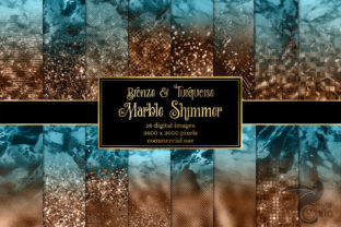 Print on Demand: Bronze and Turquoise Marble Shimmer Graphic Textures By Digital Curio