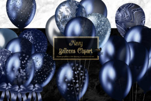 Print on Demand: Navy Blue Balloons Clipart Graphic Illustrations By Digital Curio