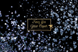 Print on Demand: Navy Blue Glitter Clipart Graphic Illustrations By Digital Curio