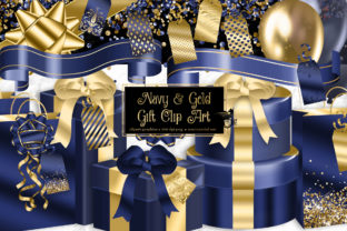 Print on Demand: Navy and Gold Gift Clipart Graphic Illustrations By Digital Curio