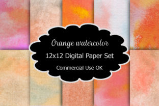 Print on Demand: Orange Watercolor Digital Paper Pack Graphic Backgrounds By A Design in Time