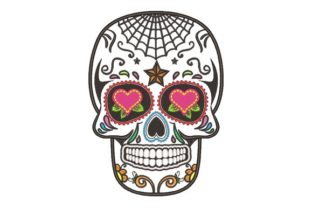 Spider Web Sugar Skull Halloween Embroidery Design By NinoEmbroidery