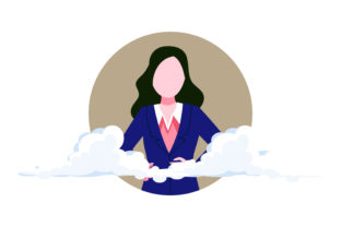 Woman Elegant Business Cloud Background Graphic Illustrations By patternspacestudio