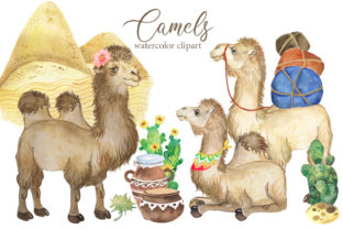 Camel Watercolor Clipart. Desert Animals Graphic Add-ons By EvArtPrint