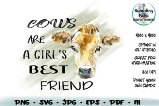 Print on Demand: Cows Are a Girl's Best Friend Graphic Print Templates By RamblingBoho