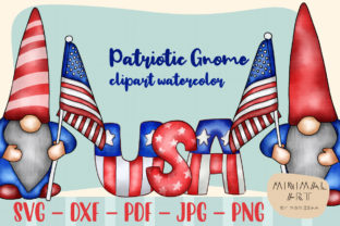 Print on Demand: Patriotic Gnomes Clipart SVG 4th July Graphic Illustrations By Momixzaa 1