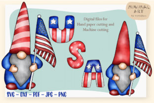 Print on Demand: Patriotic Gnomes Clipart SVG 4th July Graphic Illustrations By Momixzaa 2