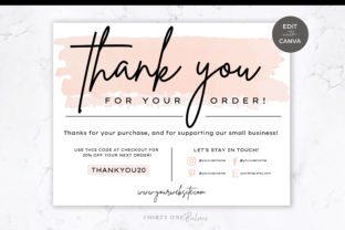 Thank You Card for Canva | Pink & Black Graphic Print Templates By Thirty One Palms Studio