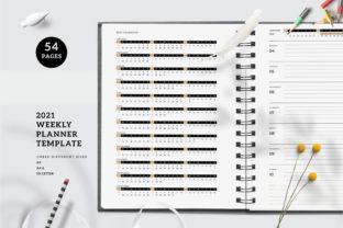 Print on Demand: 2021 Weekly Planner Printable Templates Graphic KDP Interiors By AmitDebnath