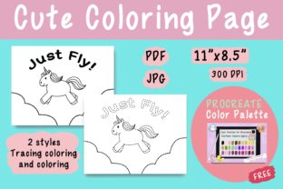 Cute Coloring Page - Unicorn_Just_Fly Graphic Coloring Pages & Books Kids By jennythip 1