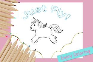 Cute Coloring Page - Unicorn_Just_Fly Graphic Coloring Pages & Books Kids By jennythip 3