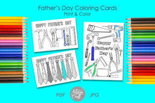 Print on Demand: Fathers Day Coloring Card, Necktie, Tool Graphic Coloring Pages & Books Kids By Artisan Craft SVG