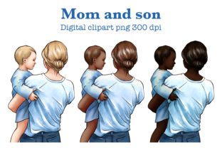Mom and Son Clipart, Mother's Day Graphic Illustrations By Arte de Catrin