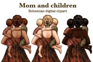 Mom and Children Clipart, Mom and Babys Graphic Illustrations By Arte de Catrin