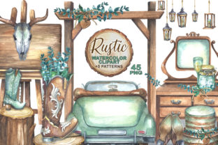 Watercolor Rustic Wedding Clipart Graphic Illustrations By rembrantd.ulya