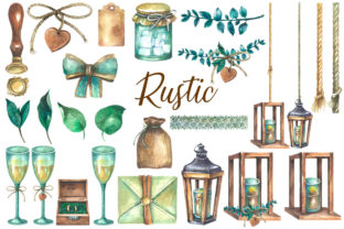 Watercolor Rustic Wedding Clipart Graphic Illustrations By rembrantd.ulya 2