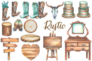 Watercolor Rustic Wedding Clipart Graphic Illustrations By rembrantd.ulya 3