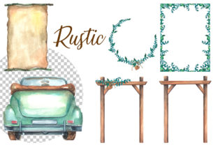 Watercolor Rustic Wedding Clipart Graphic Illustrations By rembrantd.ulya 4