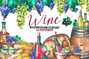 Watercolor Wine Clipart Graphic Illustrations By rembrantd.ulya