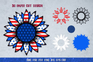 3D Sunflower 4of July Bundle Graphic 3D SVG By goodfox86 6