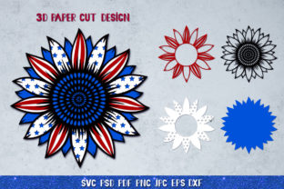 3D Sunflower 4of July Bundle Graphic 3D SVG By goodfox86 3