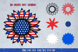 3D Sunflower 4of July Bundle Graphic 3D SVG By goodfox86 4