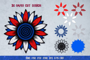 3D Sunflower 4of July Bundle Graphic 3D SVG By goodfox86 10