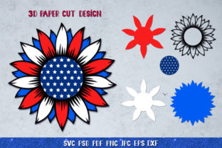3D Sunflower 4of July Bundle Graphic 3D SVG By goodfox86 11