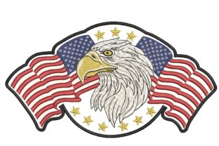 Print on Demand: American Flag and Eagle Independence Day Embroidery Design By ArtEMByNatali