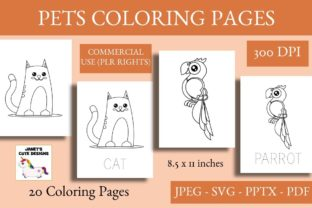 Print on Demand: Cute Pets Coloring Pages Graphic Coloring Pages & Books Kids By Janet's Cute Designs 1
