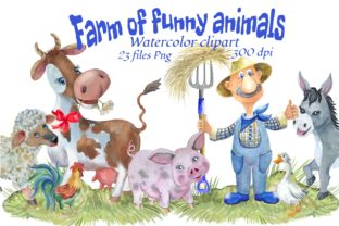 Print on Demand: Farm of Funny Animals. Watercolor Clipar Graphic Illustrations By Marine Universe