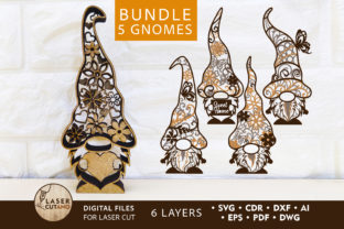 Print on Demand: GNOMES Multilayer Laser Cut Files Graphic 3D SVG By LaserCutano