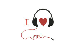 I Love Music Headphone Music Embroidery Design By DigitEMB
