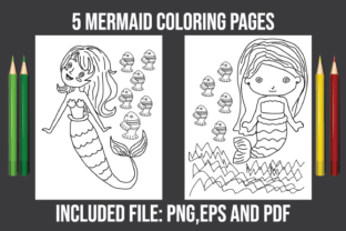 Mermaid Coloring Pages KDP - Interior Graphic Coloring Pages & Books Kids By zahed6525